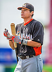 9 March 2013: Miami Marlins infielder Derek Dietrich awaits his turn in the batting cage prior to a Spring Training game against the Washington Nationals at Space Coast Stadium in Viera, Florida. The Nationals edged out the Marlins 8-7 in Grapefruit League play. Mandatory Credit: Ed Wolfstein Photo *** RAW (NEF) Image File Available ***