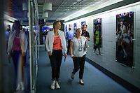 Maria Sharapova, (L ) of Russia arrive to speak during a news conference at the Arthur ASHE stadium during the US Open 2015 tennis Tournament in New York. 08.29.2015.  Eduardo MunozAlvarez/VIEWpress.