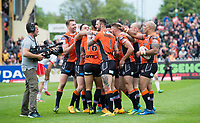 Picture by Allan McKenzie/SWpix.com - 13/05/2017 - Rugby League - Ladbrokes Challenge Cup - Castleford Tigers v St Helens - The Mend A Hose Jungle, Castleford, England - Castleford celebrate a try on their way to victory over St Helens in the Ladbrokes Challenge Cup.