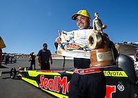 Jul 31, 2016; Sonoma, CA, USA; NHRA top fuel driver J.R. Todd celebrates after winning the Sonoma Nationals at Sonoma Raceway. Mandatory Credit: Mark J. Rebilas-USA TODAY Sports