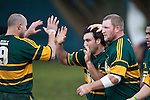 Kevin Farrell and Mark Price congratulate Armyn Sanders after scoring a try. Counties Manukau Premier Club Rugby game between Pukekohe and Waiuku played at Colin Lawrie Fields, Pukekohe, on Saturday July 3rd 2010. Pukekohe won 31 - 12 after leading 15 - 9 at halftime.