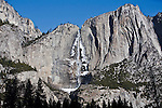 Winter scenes in Yosemite Valley located in the Yosemite National Park..Upper Yosemite Fall with winter ice..