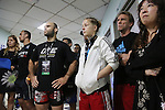 Fighters pre-fight briefing backstage. Centre Florian Garel, Zendokai Karate Champion, Irina Mazepa, 5X Wushu World Champion, <br />