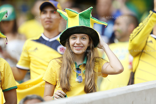 Brazil fans (BRA),<br /> JULY 4, 2014 - Football / Soccer : FIFA World Cup Brazil 2014 Quarter Final match between Brazil 2-1 Colombia at the Castelao arena in Fortaleza, Brazil. <br /> (Photo by AFLO)