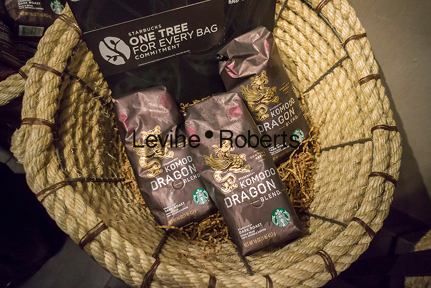 Packages of Komodo Dragon blend coffee in a  Starbucks in Queens in New York on Saturday, February 13, 2016.  (© Richard B. Levine)