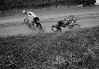 Dwars Door Vlaanderen 2013.Jack Bauer (NZL) stays down after crashing on the Ladeuze descent