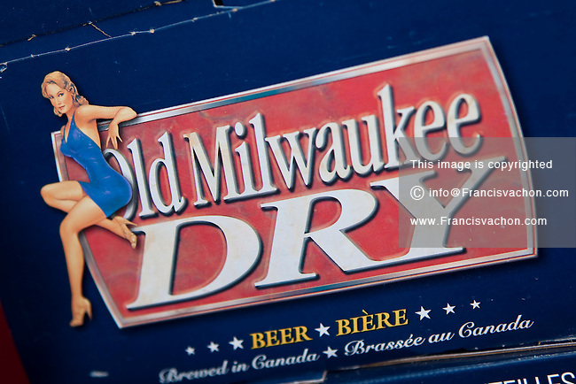 Old Milwaukee Dry beer logo is seen on a beer box on display in a convenient store in Quebec City February 26, 2009. Old Milwaukee Dry is brewed in Canada by Sleeman's Stroh's Canada branch