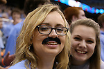 18 November 2015: A UNC fan wears a mustache for Movember. The University of North Carolina Tar Heels hosted the Wofford College Terriers at the Dean E. Smith Center in Chapel Hill, North Carolina in a 2015-16 NCAA Division I Men's Basketball game. UNC won the game 78-58.
