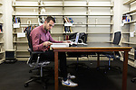 February 23, 2015. Durham, North Carolina.<br />  Michael Adamson, a 2nd year student, studies in a side room of the J. Michael Goodson Law Library, which was completed just a few years ago.<br />  The Duke University School of Law is considered one of the best law schools in the country.