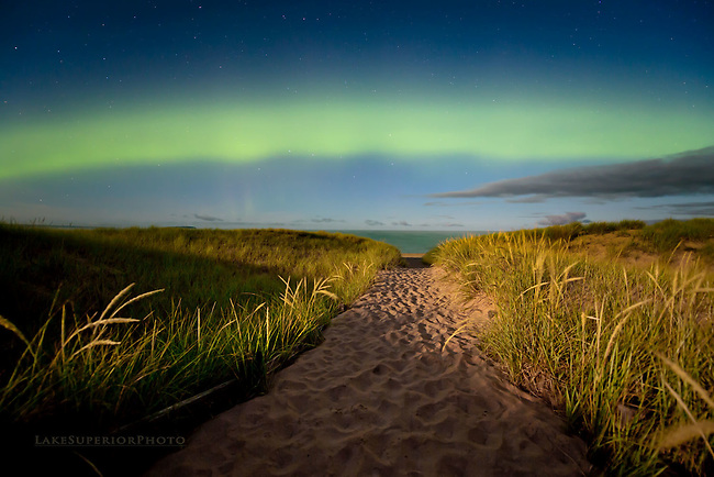 The Enlightened Path, summer auroras over Lake Superior
