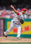 15 May 2016: Washington Nationals pitcher Yusmeiro Petit on the mound against the Miami Marlins at Nationals Park in Washington, DC. The Marlins defeated the Nationals 5-1 in the final game of their 4-game series.  Mandatory Credit: Ed Wolfstein Photo *** RAW (NEF) Image File Available ***