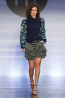 Model walks runway in an outfit by Monique Askeland, during the Future of Fashion 2017 runway show at the Fashion Institute of Technology on May 8, 2017.