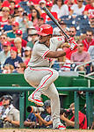 11 September 2016: Philadelphia Phillies outfielder Odubel Herrera pinch hits against the Washington Nationals at Nationals Park in Washington, DC. The Nationals edged out the Phillies 3-2 to take the rubber match of their 3-game series. Mandatory Credit: Ed Wolfstein Photo *** RAW (NEF) Image File Available ***