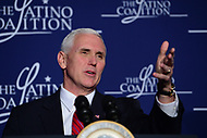 """Washington, DC - March 9, 2017: Vice President Mike Pence speaks at the """"Make Small Business Great Again Policy Summit"""" hosted by the Latino Coalition at the J.W. Marriott Hotel in the District of Columbia, March 9, 2017.  (Photo by Don Baxter/Media Images International)"""