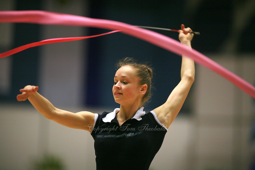 Marina Shpekt of Russia her trains ribbon routine before Burgas Grand Prix Rhythmic Gymnastics on May 5, 2006.  (Photo by Tom Theobald)