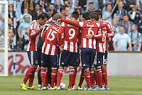 Chivas USA players in a huddle.Sporting Kansas City defeated Chivas USA 4-0 at Sporting Park, Kansas City, Kansas.