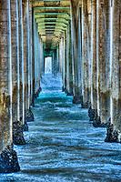 Huntington Beach, CA, Pier, Ocean Waves, Dramatic, California