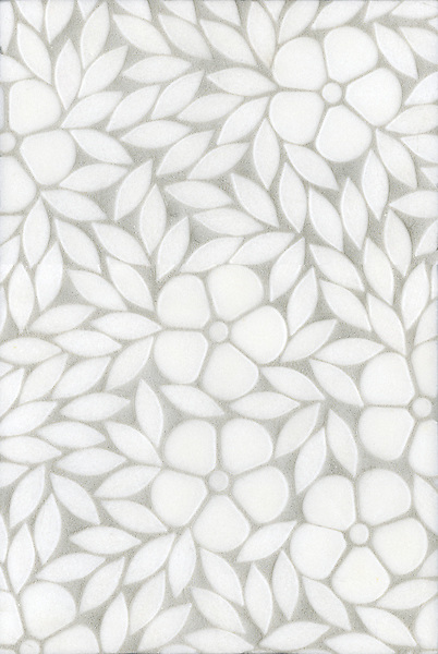 Jacqueline, a natural stone waterjet mosaic shown in tumbled Thassos, is part of the Silk Road Collection by Sara Baldwin for New Ravenna Mosaics.