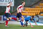 St Johnstone v Kilmarnock.....09.11.13     SPFL<br /> Chris Millar is sent flying by Michael Gardyne for the penalty<br /> Picture by Graeme Hart.<br /> Copyright Perthshire Picture Agency<br /> Tel: 01738 623350  Mobile: 07990 594431