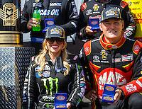 Sep 18, 2016; Concord, NC, USA; NHRA top fuel driver Brittany Force (left) and Doug Kalitta during the Carolina Nationals at zMax Dragway. Mandatory Credit: Mark J. Rebilas-USA TODAY Sports