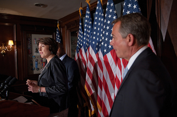 UNITED STATES - September 13:  Conference Vice Chair, Cathy McMorris Rodgers, (R-WA) addresses reporters at the House Republican Leadership press conference at the RNC on Capitol Hill, September 13. 2011. L to R are Tim Scott, (R-SC), and Speaker of the House John Boehner, R-OH. (Photo By Douglas Graham/Roll Call)