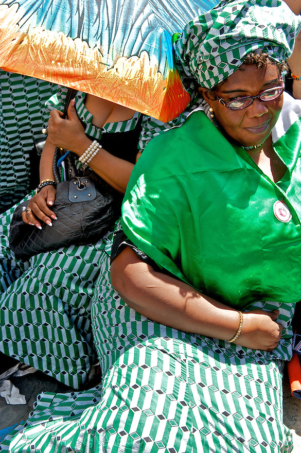 Nigerian women in colourful African costumes