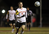 COLLEGE PARK, MD - NOVEMBER 25, 2012: Patrick Mullins (15) of the University of Maryland  against  Coastal Carolina University during an NCAA championship third round match at Ludwig Field, in College Park, MD, on November 25. Maryland won 5-1.