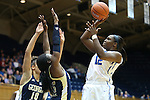 06 December 2012: Duke's Chelsea Gray (12) shoots over Georgia Tech's Tyaunna Marshall (15) and Danielle Hamilton-Carter (SWE) (10). The Duke University Blue Devils played the Georgia Tech University Yellow Jackets at Cameron Indoor Stadium in Durham, North Carolina in an NCAA Division I Women's Basketball game. Duke won the game 85-52.