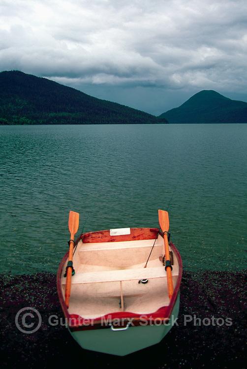 Empty Rowboat on Shore at Bowron Lake, Bowron Lake Provincial Park, BC, Cariboo Region of British Columbia, Canada