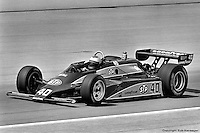 INDIANAPOLIS, IN - MAY 24: Mario Andretti drives his Wildcat VIII 03/Cosworth during practice for the Indianapolis 500 on May 24, 1981, at the Indianapolis Motor Speedway in Indianapolis, Indiana.