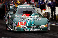 JOLIET, IL - JUNE 12: John Force drives his Funny Car during the NHRA event on June 12, 2005, at Route 66 Raceway near Joliet, Illinois.