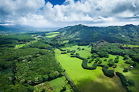 An aerial view of a long country road and surrounding lush countryside and mountains on Kaua'i.