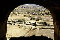 A view from the damage head of the 54 meters high Bamiyan Buddha, on the demolish bazaar caused by the fight between the Taleban and the local Hazaraâs in 1999..These magnificent colossal statues, created during the 3rdâ4th centuries A.D., attracted pilgrims for centuries, far beyond the time when Buddhism languished in India following the disastrous visitation of the Hephthalite Huns in the 5th century, the subsequent resurgence of Hinduism, and the arrival of iconoclastic Islam in the 7th century..The entire niche was once covered with paintings dating from i he late 5th to the early 7th centuries.