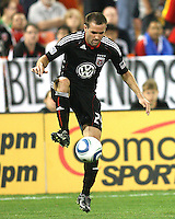 Brandon Barklage #24 of D.C. United controls the ball during an MLS match against the New England Revolution on April 3 2010, at RFK Stadium in Washington D.C.