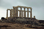 Europe, Greece, Cape Sounion. Temple of Poseidon.