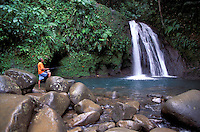Fisherman at Waterfalls, Cascade aux Ecrevisses, Parc National de la Guadeloupe, Guadeloupe, Caribbean