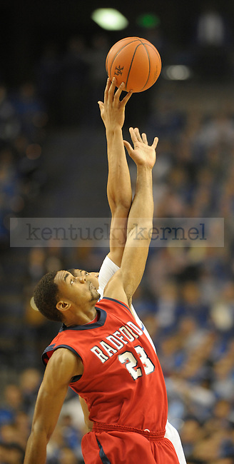 Kentucky Wildcats forward Anthony Davis (23) wins the jump ball during the first half of the University of Kentucky Men's basketball game against Radford at Rupp Arena in Lexington, Ky., on 11/23/11. Uk led the game at half 45-14. Photo by Mike Weaver | Staff