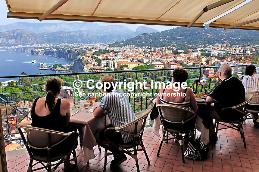 Panoramic view of Sorrento, Italy, from rooftop bar &amp; restaurant, Hotel Bristol. September, 2015, 201509191668<br /> <br /> Copyright Image from Victor Patterson, 54 Dorchester Park, Belfast, UK, BT9 6RJ<br /> <br /> t1: +44 28 9066 1296<br /> t2: +44 28 9002 2446<br /> m: +44 7802 353836<br /> e: victorpatterson@me.com<br /> <br /> www.victorpatterson.com<br /> <br /> IMPORTANT: Please see my Terms and Conditions of Use at www.victorpatterson.com