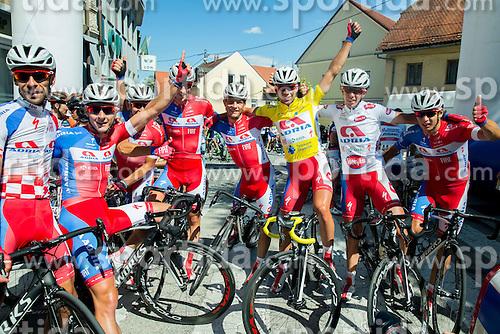 Team Adria Mobil: Radoslav Rogina, Marko Kump, Kristjan Fajt, David Per, Klemen Stimulak, Primoz Roglic, Domen Novak and Jon Bozic celebrate after the  Stage 4 of 22nd Tour of Slovenia 2015 from Rogaska Slatina to Novo mesto (165,5 km) cycling race  on June 21, 2015 in Slovenia. Photo by Vid Ponikvar / Sportida