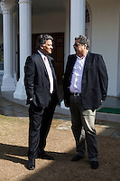 Nik Senapati (Rio Tinto Managing Director) (left) speaks to an unidentified attendee during lunch after a press conference on Oz Fest in Raj Mahal Palace hotel, Jaipur, India on 10th January 2013. Photo by Suzanne Lee/DFAT