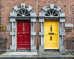 A pair of business entrances on Parliament St. in downtown Kilkenny, Ireland.