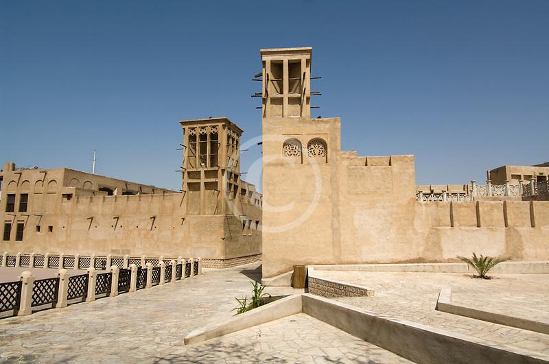 United Arab Emirates, Dubai, Wind towers and courtyard, Bastakiya Quarter, restored historic site