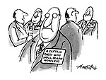 (A man at a conference wears a name tag reading: 'A certain party who shall remain nameless')