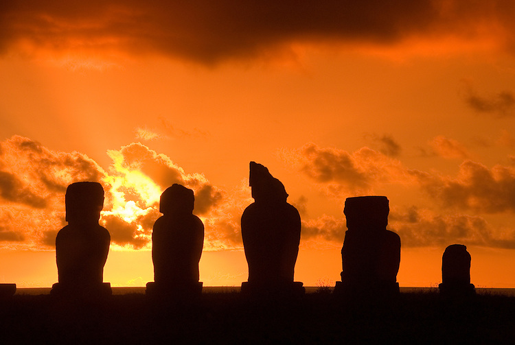 Chile, Easter Island: Statues or moai on a platform or ahu called Ahu Tahai near the town of Hanga Roa..Photo #: ch204-32631.Photo copyright Lee Foster www.fostertravel.com lee@fostertravel.com 510-549-2202