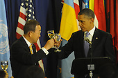 United States President Barack Obama, right, shares a toast before lunch with United Nations Secretary General Ban Ki-Moon, left, at UN Headquarters in New York, New York on Wednesday, September 21, 2011..Credit: Aaron Showalter / Pool via CNP
