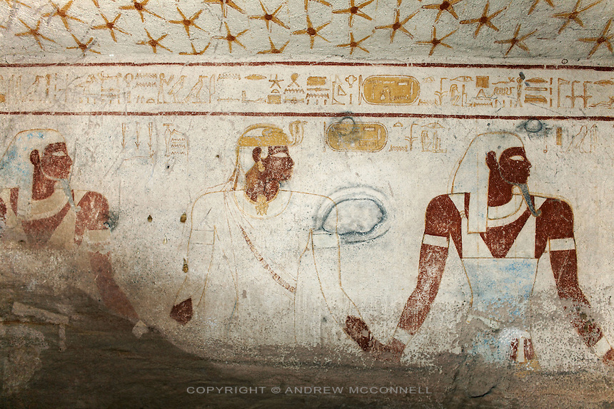 Wall paintings in the tomb of King Tanwetamani show the ancient Kushite king (nephew of Taharqa) being led to his burial, wearing Kushite cap and ureaus (royal cobra), pictured on Tuesday, March 27, 2007. The tomb is part of the royal cemetery at El Kurru of which little is known. The earliest tombs date from the 9th century BC, it is thought that El Kurru was an early capital of Kush before moving to nearby Jebel Barkal. ..The ancient kingdom of Kush emerged around 2000 BC in the land of Nubia, what is today northern Sudan. At their height the Nubians ruled over ancient Egypt as the 25th Dynasty between 720 BC and 664 BC (known as the Black Pharaohs) and saw their borders reach to edges of Libya and Palestine. The Kushite kings saw themselves as guardians of Egyptian religion and tradition. They centered there kindgom on the Temple of Amun at Napata (modern day Jebel Barkal) and brought back the building of Pyramids in which to inter their kings - there are around 220 pyramids in Sudan, twice the number in Egypt. After Napata was sacked, by a resurgent Egypt, the capital was moved to Meroe where a more indigenous culture developed, Egyptian hieroglyphics made way for a cursive Meroitic script, yet to be deciphered. The Meroitic kingdom eventually fell into decline in the 3rd century AD with the arrival of Christianity.