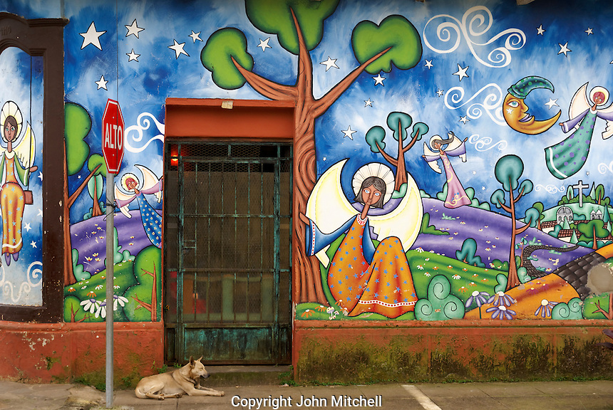 Colorful angels mural on the wall of a building of the town of Consepcion de Ataco, Ahuachapan department, El Salvador