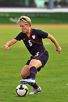 Lori Lindsey turns on a dime. The USWNT defeated Iceland (2-0) at Vila Real Sto. Antonio in their opener of the 2010 Algarve Cup on February 24, 2010.