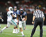 Ole Miss' Randall Mackey (1) scores in the first half at the Mercedes-Benz Superdone in New Orleans, La. on Saturday, September 22, 2012. Ole Miss won 39-0...