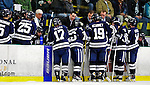 30 November 2009: Yale University Bulldogs' Head Coach Keith Allain and his coaching staff discuss strategies during a time out with one minute to play in the third period against the University of Vermont Catamounts at Gutterson Fieldhouse in Burlington, Vermont. The Catamounts shut out the Bulldogs 1-0 in a rematch of last season's first round of the NCAA post-season playoff Tournament. Mandatory Credit: Ed Wolfstein Photo